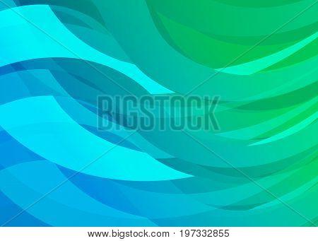 Blue-Green Gradient Digital Wave Background. Creativity Abstract Design Waves.