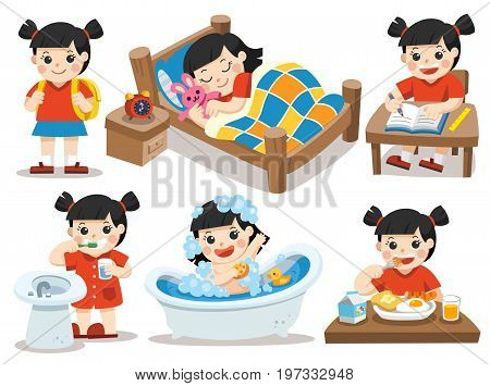 Isolated vector. The daily routine of Asian girl on a white background. [sleep brush teeth take a bath eat do homework]