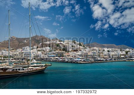 NAXOS, GREECE - JUNE 29, 2017: Beautiful view of Naxos town in Cyclades Islands.