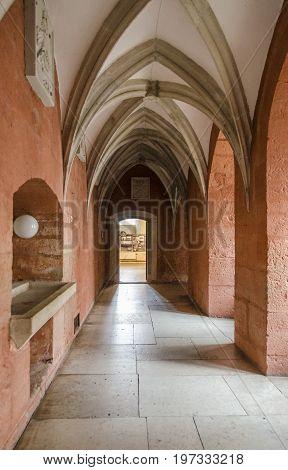 KURESSAARE, SAAREMAA, ESTONIA, 7TH SEPTEMBER 2012 - Gothic arched corridor in Kuressaare Castle Saaremaa Estonia