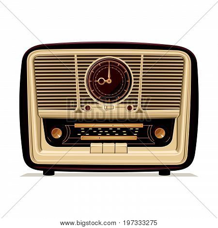Radio retro. Old Radio. Illustration of an old radio receiver of the last century. Vector illustration.