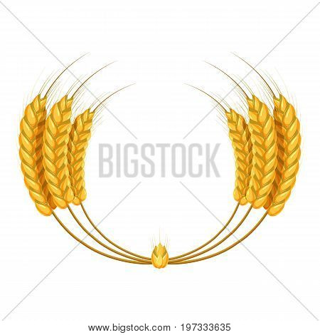 Wheat ears wreath icon. Cartoon illustration of wheat ears vector icon for web design