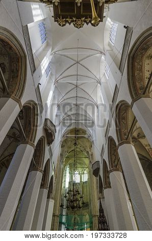 STRALSUND, GERMANY, 12TH SEPTEMBER 2012 - Columns and ceiling of St Mary's Church in the Hanseatic city of Stralsund Germany
