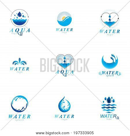 Sea wave splash vector symbol. Water is life theme. Environment conservation concept.