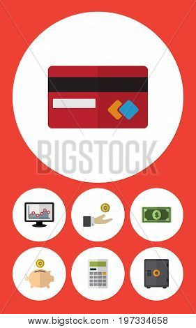 Flat Icon Gain Set Of Payment, Greenback, Strongbox And Other Vector Objects