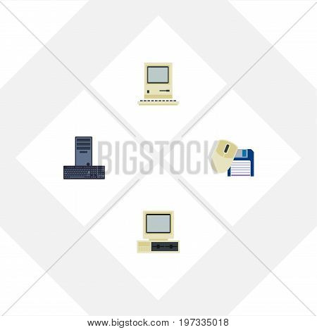 Flat Icon Computer Set Of Processor, Computer, Computing And Other Vector Objects