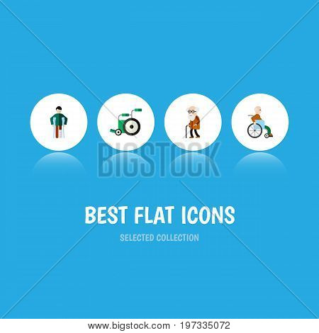Flat Icon Cripple Set Of Injured, Handicapped Man, Ancestor Vector Objects