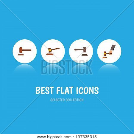 Flat Icon Hammer Set Of Crime, Hammer, Defense And Other Vector Objects
