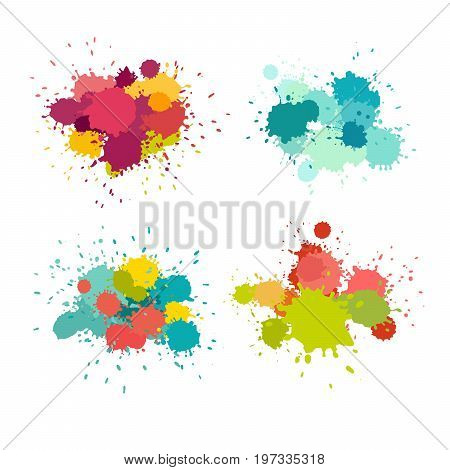 Paint splat vector set. Colorful grunge texture for your design blue yellow pink purple red brush