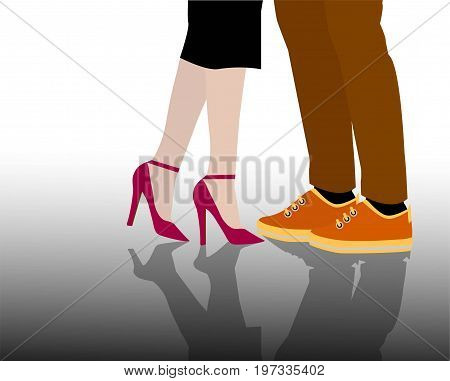 Red woman shoe with high heel and male sports shoe. Vector illustration