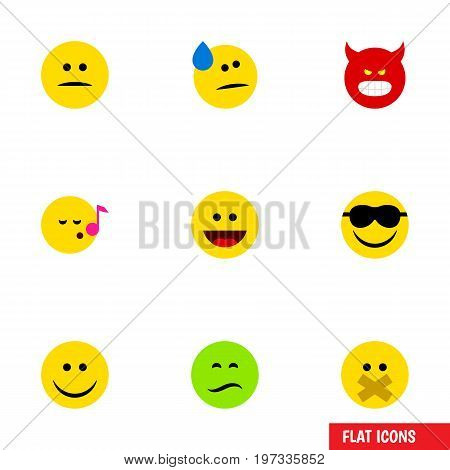 Flat Icon Face Set Of Displeased, Hush, Frown And Other Vector Objects