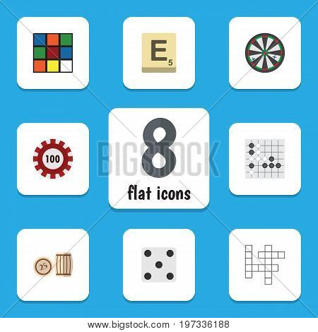 Flat Icon Play Set Of Backgammon, Guess, Gomoku And Other Vector Objects