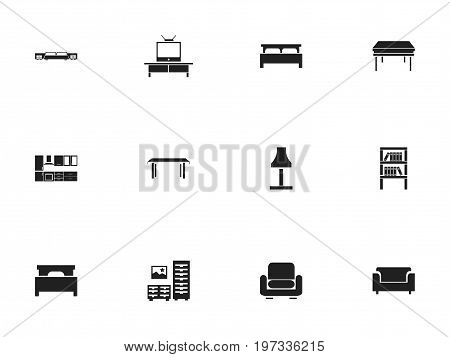 Set Of 12 Editable Furnishings Icons. Includes Symbols Such As Bed, Cooking Furnishings, Bearings And More