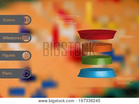 3D illustration infographic template with motif of deformed cylinder horizontally divided to four color slices with simple sign and sample text on side in bars. Blurred photo is used as background.