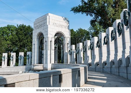 WASHINGTON, DC - JULY 12, 2017:  The Atlantic side of the World War II Memorial, a memorial dedicated to Americans who served in the armed forces or as civilians during World War II.