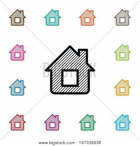 House Plan Vector Element Can Be Used For House, Plan, Blueprint Design Concept.  Isolated Blueprint Icon.