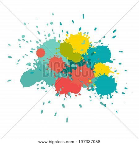 Watercolor splashes. Paint vector splat. Stains grunge texture. Isolated on white background. Orange green yellow and turquoise colors