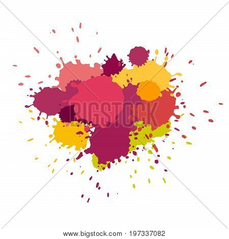 Watercolor splashes. Paint vector splat. Stains grunge texture. Isolated on white background. Pink purple and yellow colors