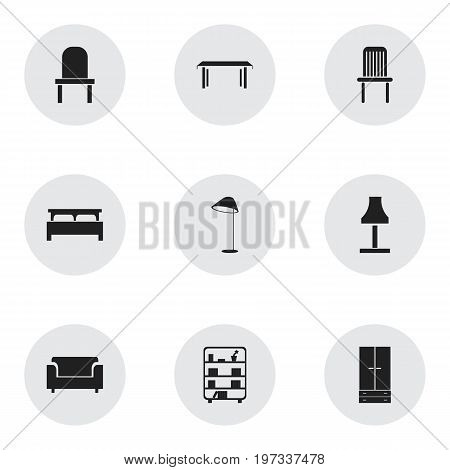 Set Of 9 Editable Furnishings Icons. Includes Symbols Such As Cabinet, Seat, Glim And More