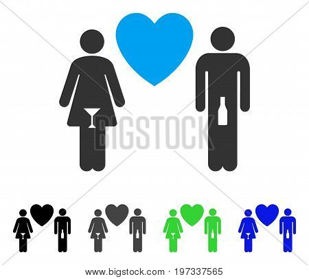 Drunky Love Pair flat vector pictogram. Colored drunky love pair gray, black, blue, green pictogram versions. Flat icon style for web design.