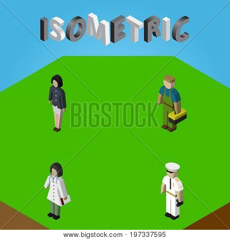 Isometric Human Set Of Plumber, Doctor, Seaman And Other Vector Objects