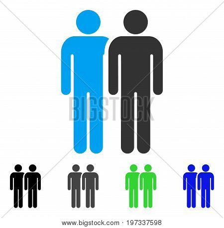 Gay Couple flat vector pictogram. Colored gay couple gray, black, blue, green pictogram versions. Flat icon style for web design.