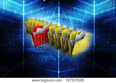 Folder. Open folder with papers 3d render