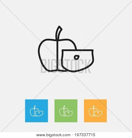 Vector Illustration Of Cookware Symbol On Low-Calorie Fruit Outline