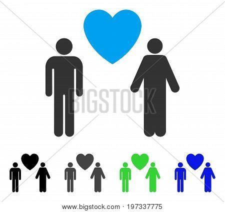 Gay Lovers flat vector pictogram. Colored gay lovers gray, black, blue, green pictogram variants. Flat icon style for application design.
