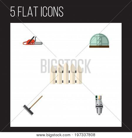 Flat Icon Farm Set Of Harrow, Hothouse, Hacksaw And Other Vector Objects