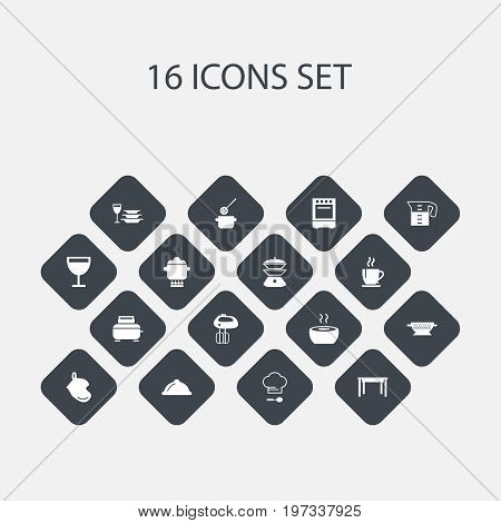 Set Of 16 Editable Restaurant Icons. Includes Symbols Such As Oven, Skimmer, Multicooker And More