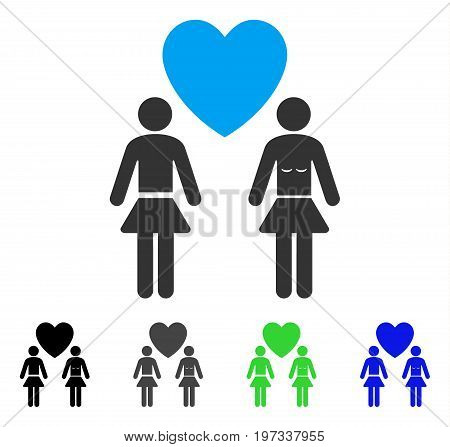Lesbi Love Pair flat vector illustration. Colored lesbi love pair gray, black, blue, green icon variants. Flat icon style for web design.