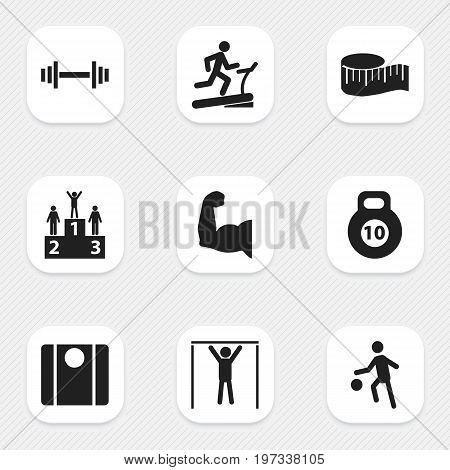 Set Of 9 Editable Active Icons. Includes Symbols Such As Balance, Racetrack Training, Crossbar And More