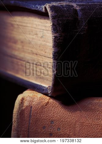 Old book with textile hardcover. Close-up photo