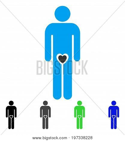 Lover Guy flat vector pictograph. Colored lover guy gray, black, blue, green pictogram versions. Flat icon style for web design.