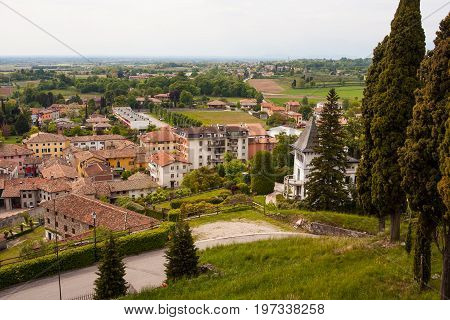 Top view of Fagagna town in Friuli Venezia Giulia italy