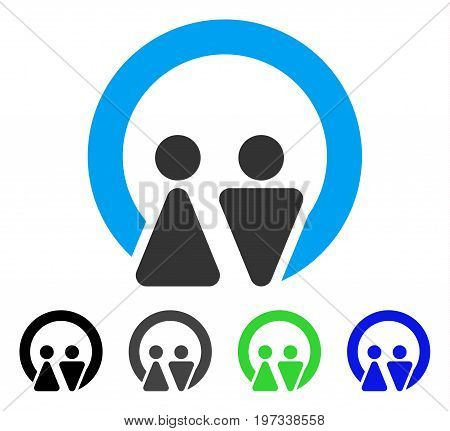 Marriage flat vector illustration. Colored marriage gray, black, blue, green icon versions. Flat icon style for graphic design.