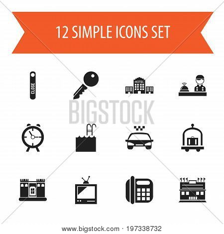 Set Of 12 Editable Motel Icons. Includes Symbols Such As Unblock Access, Townhouse, Trolley And More
