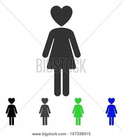 Mistress flat vector icon. Colored mistress gray, black, blue, green pictogram variants. Flat icon style for graphic design.