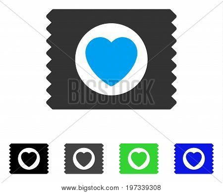 Heart Condom Pack flat vector pictogram. Colored heart condom pack gray, black, blue, green icon variants. Flat icon style for web design.