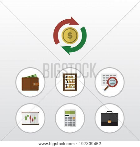 Flat Icon Gain Set Of Interchange, Billfold, Calculate And Other Vector Objects