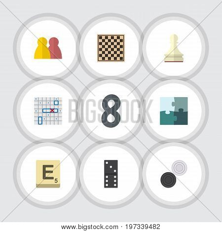 Flat Icon Entertainment Set Of Bones Game, Pawn, Sea Fight And Other Vector Objects