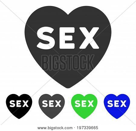 Sex Heart flat vector pictogram. Colored sex heart gray, black, blue, green pictogram variants. Flat icon style for graphic design.