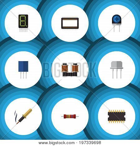 Flat Icon Appliance Set Of Resist, Transducer, Display And Other Vector Objects