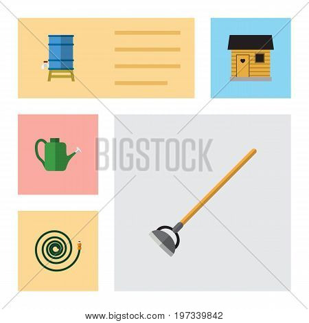 Flat Icon Garden Set Of Stabling, Hosepipe, Bailer And Other Vector Objects