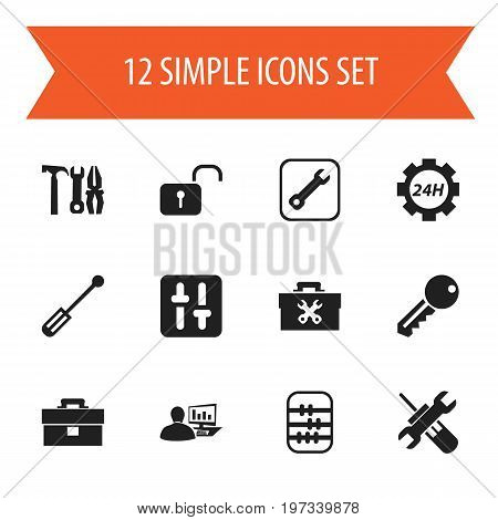 Set Of 12 Editable Toolkit Icons. Includes Symbols Such As Access, Reconstruction, Computer Statistics And More