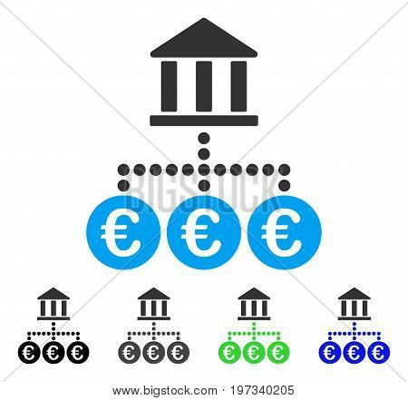 Euro Bank Transactions flat vector pictograph. Colored euro bank transactions gray, black, blue, green icon variants. Flat icon style for graphic design.
