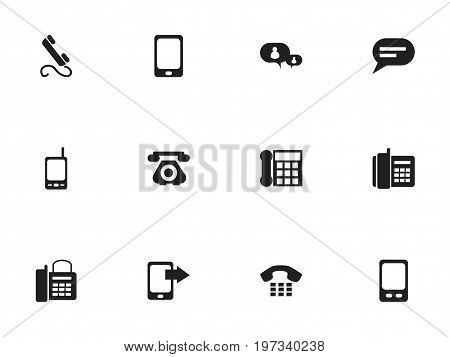 Set Of 12 Editable Device Icons. Includes Symbols Such As Mobile, Comment, Call And More