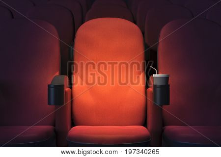Close up of empty red cinema or theater armchair. Mock up 3D Rendering