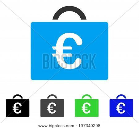 Euro Bookkeeping Case flat vector illustration. Colored euro bookkeeping case gray, black, blue, green icon variants. Flat icon style for application design.